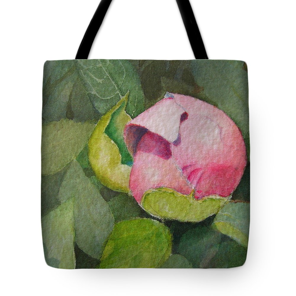 Watercolor Tote Bag featuring the painting Peony Bud by Mary Ellen Mueller Legault