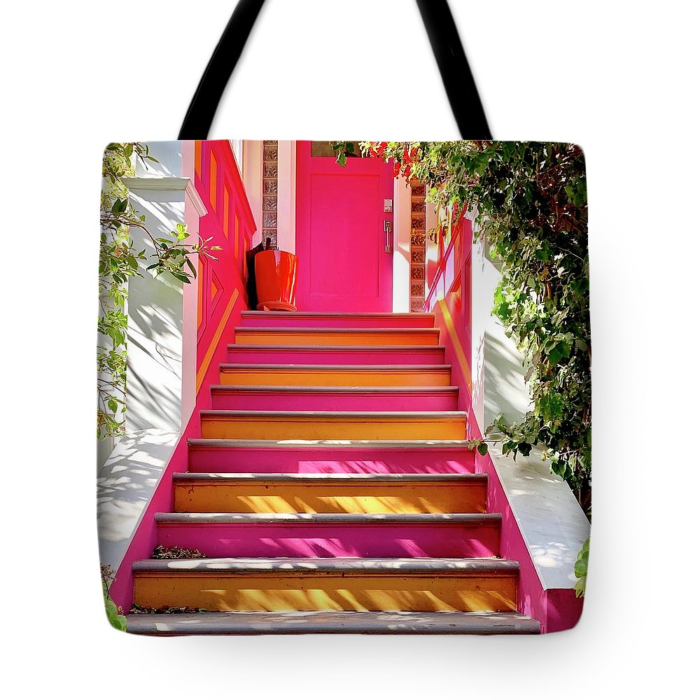 Tote Bag featuring the photograph Pink And Orange Stairs square by Julie Gebhardt