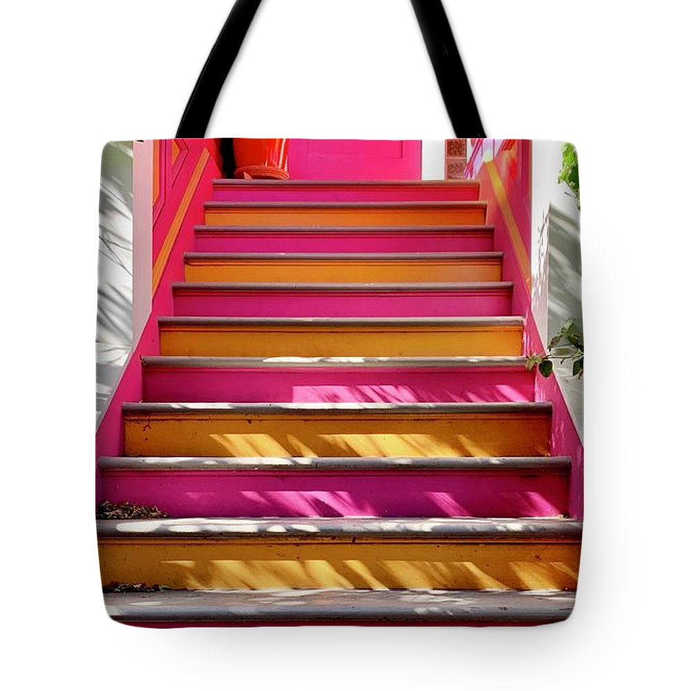 Tote Bag featuring the photograph Pink And Orange Stairs by Julie Gebhardt