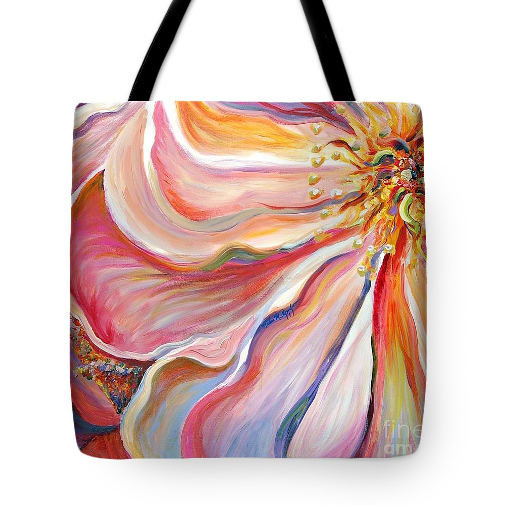 Pink Poppy Tote Bag featuring the painting Pink Poppy by Nadine Rippelmeyer