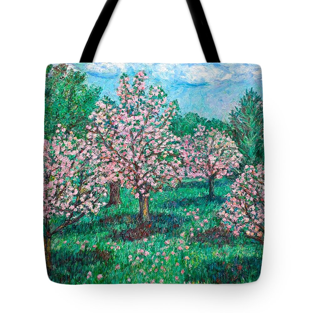Landscape Tote Bag featuring the painting Pink Wave by Kendall Kessler
