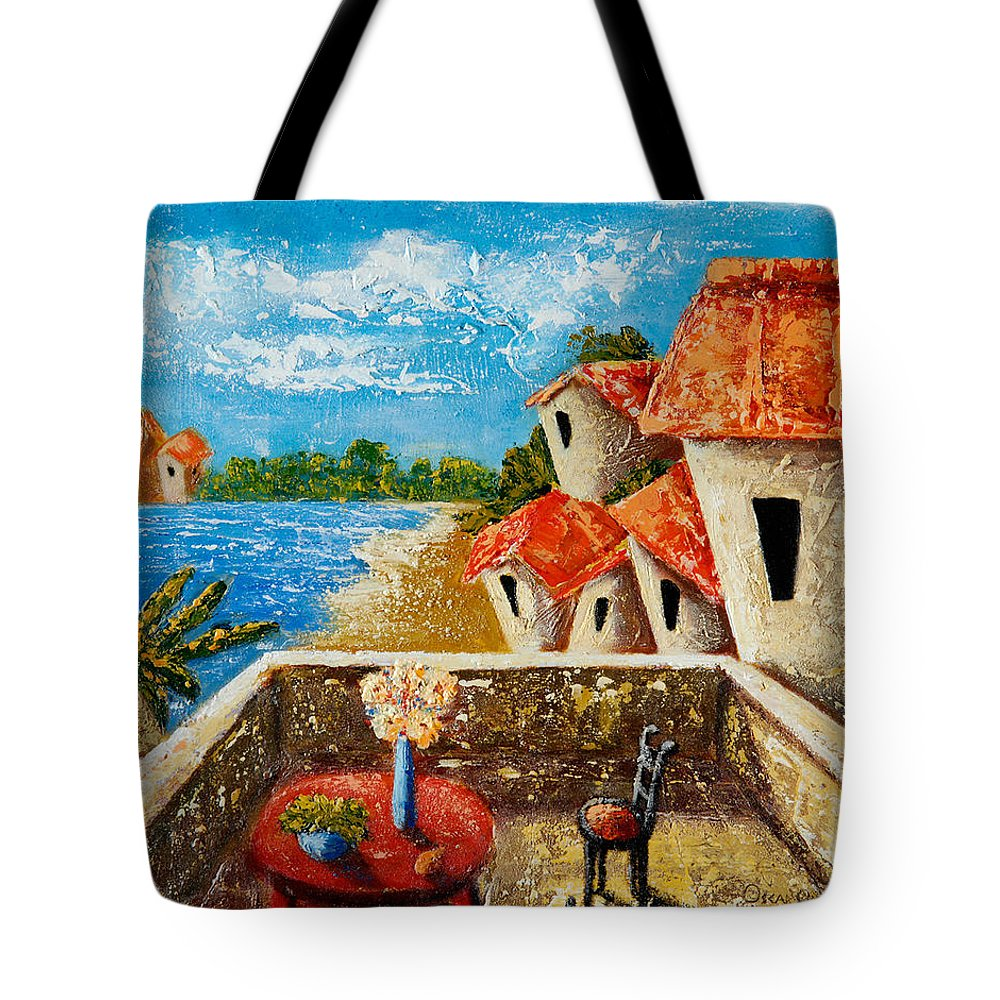 Landscape Tote Bag featuring the painting Playa Gorda by Oscar Ortiz