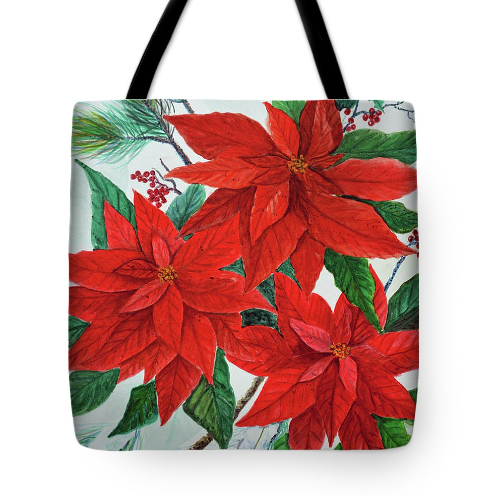 Poinsettias Tote Bag featuring the painting Poinsettias by Ben Kiger