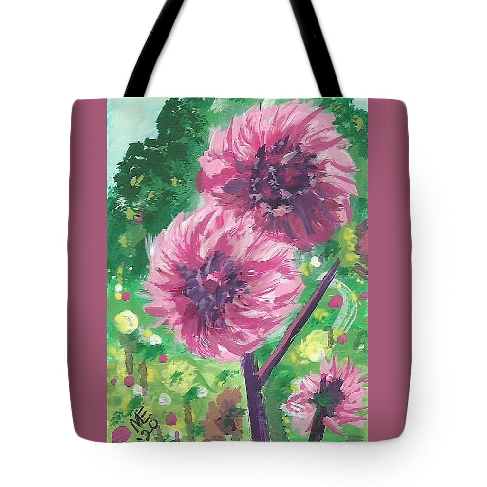 Pompon Dahlias Tote Bag featuring the painting Pompon Dahlias by Monica Resinger