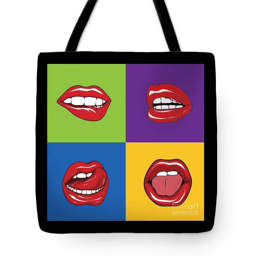 Pop Art Shirt Lips Graphic Art Retro Gift Tee Tote Bag For Sale By Haselshirt