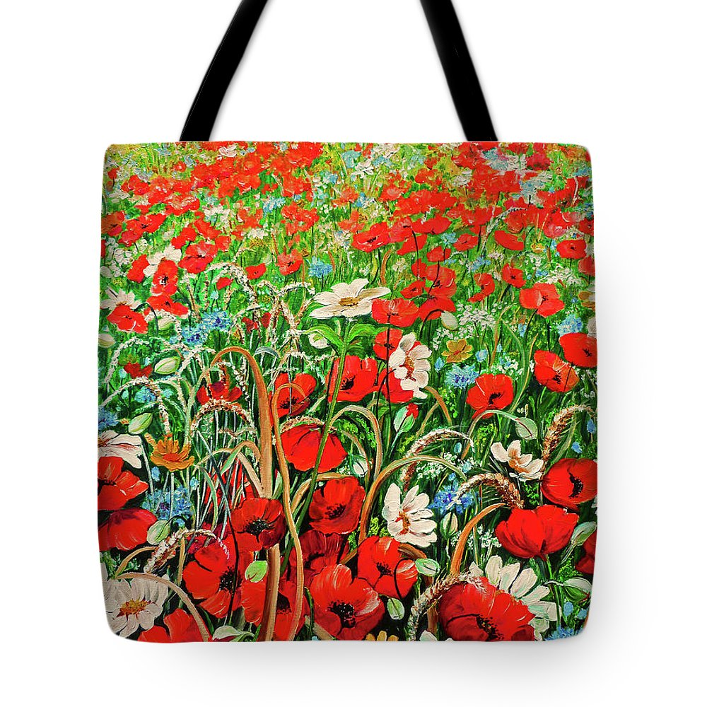 Floral Painting Flower Painting Red Poppies Painting Daisy Painting Field Poppies Painting Field Poppies Floral Flowers Wild Botanical Painting Red Painting Greeting Card Painting Tote Bag featuring the painting Poppies In The Wild by Karin Dawn Kelshall- Best