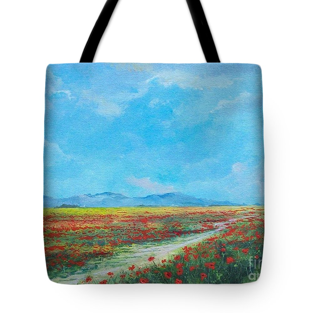 Poppy Field Tote Bag featuring the painting Poppy Field by Sinisa Saratlic