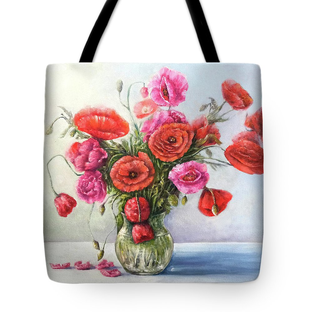 Poppy Tote Bag featuring the painting Poppy flowers by Natalja Picugina
