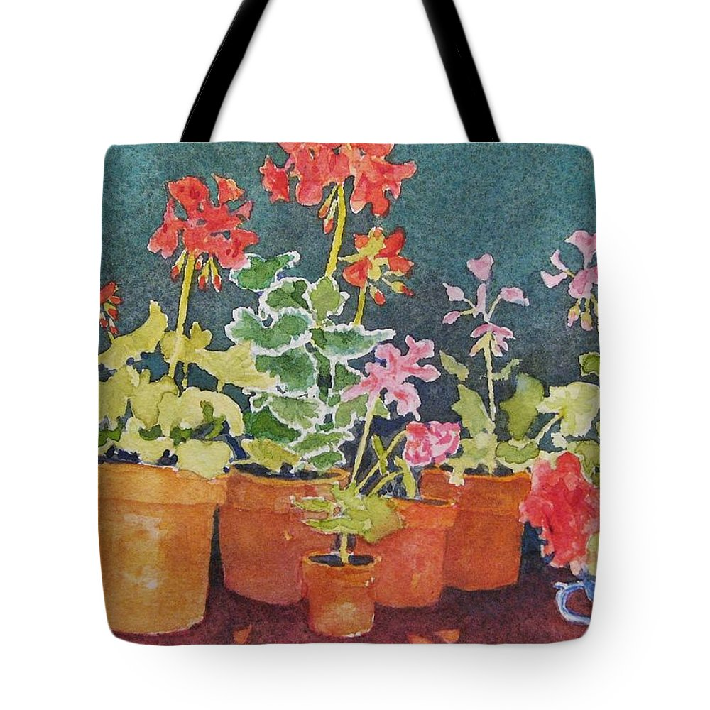 Florals Tote Bag featuring the painting Potting Shed by Mary Ellen Mueller Legault
