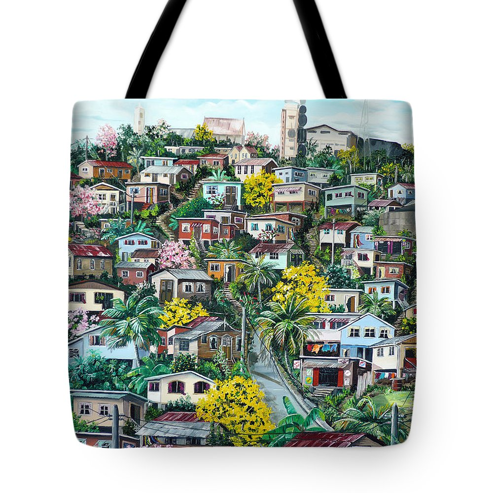 Landscape Painting Cityscape Painting Original Oil Painting  Blossoming Poui Tree Painting Lavantille Hill Trinidad And Tobago Painting Caribbean Painting Tropical Painting Tote Bag featuring the painting Poui On The Hill by Karin Dawn Kelshall- Best