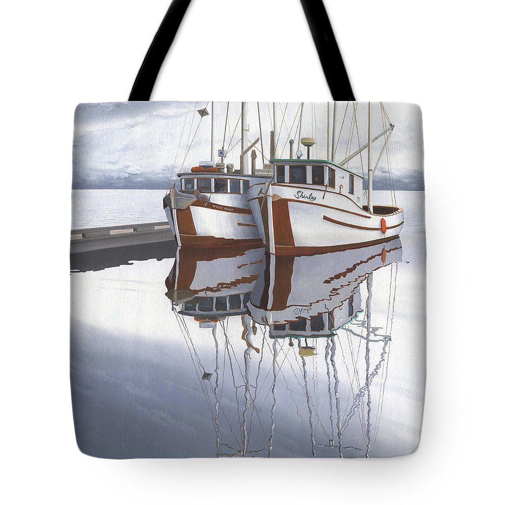Fishing Boat Tote Bag featuring the painting Powell River fishing boats by Gary Giacomelli