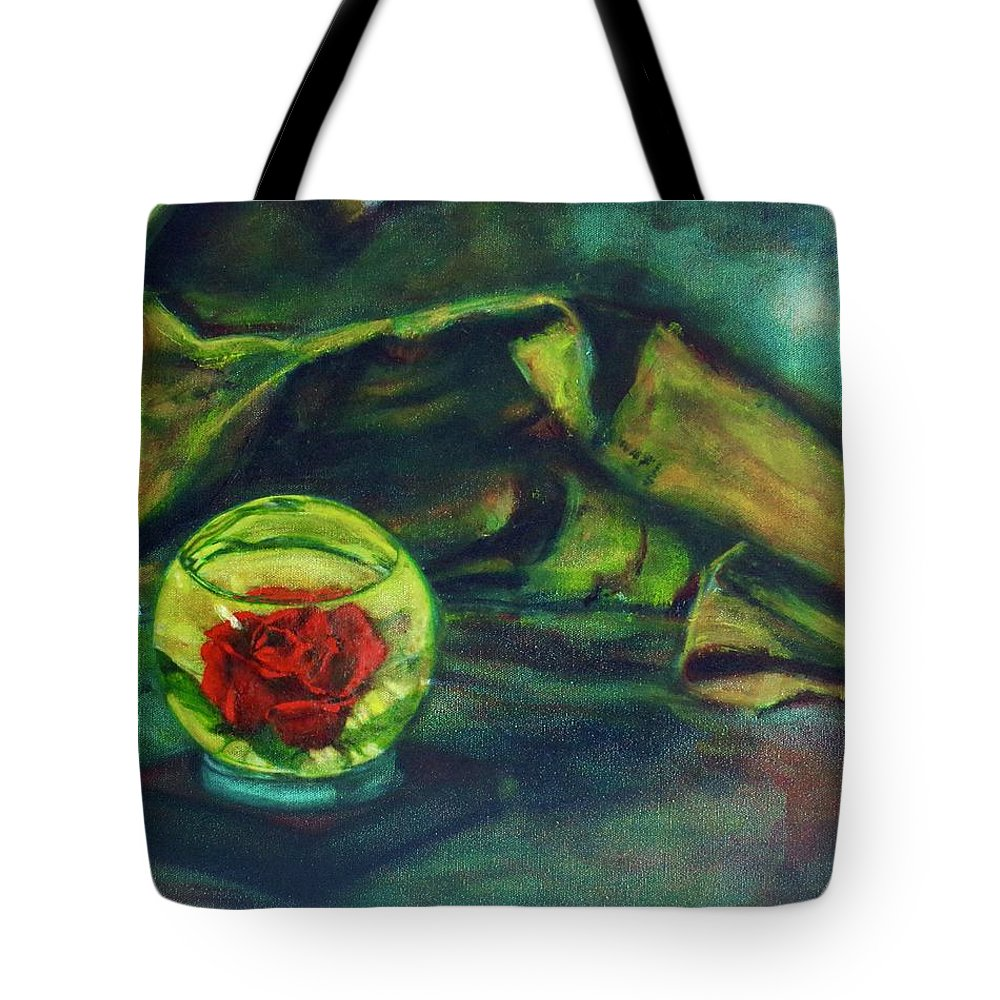 Oil Painting On Canvas Tote Bag featuring the painting Preserved Rose . . Draped Canvas by Sean Connolly