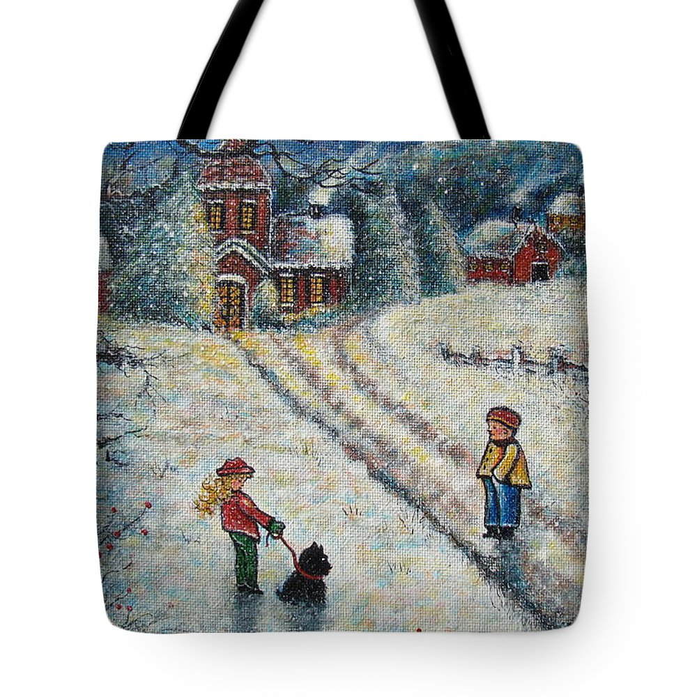Landscape Tote Bag featuring the painting Puff and Kassidy by Natalie Holland