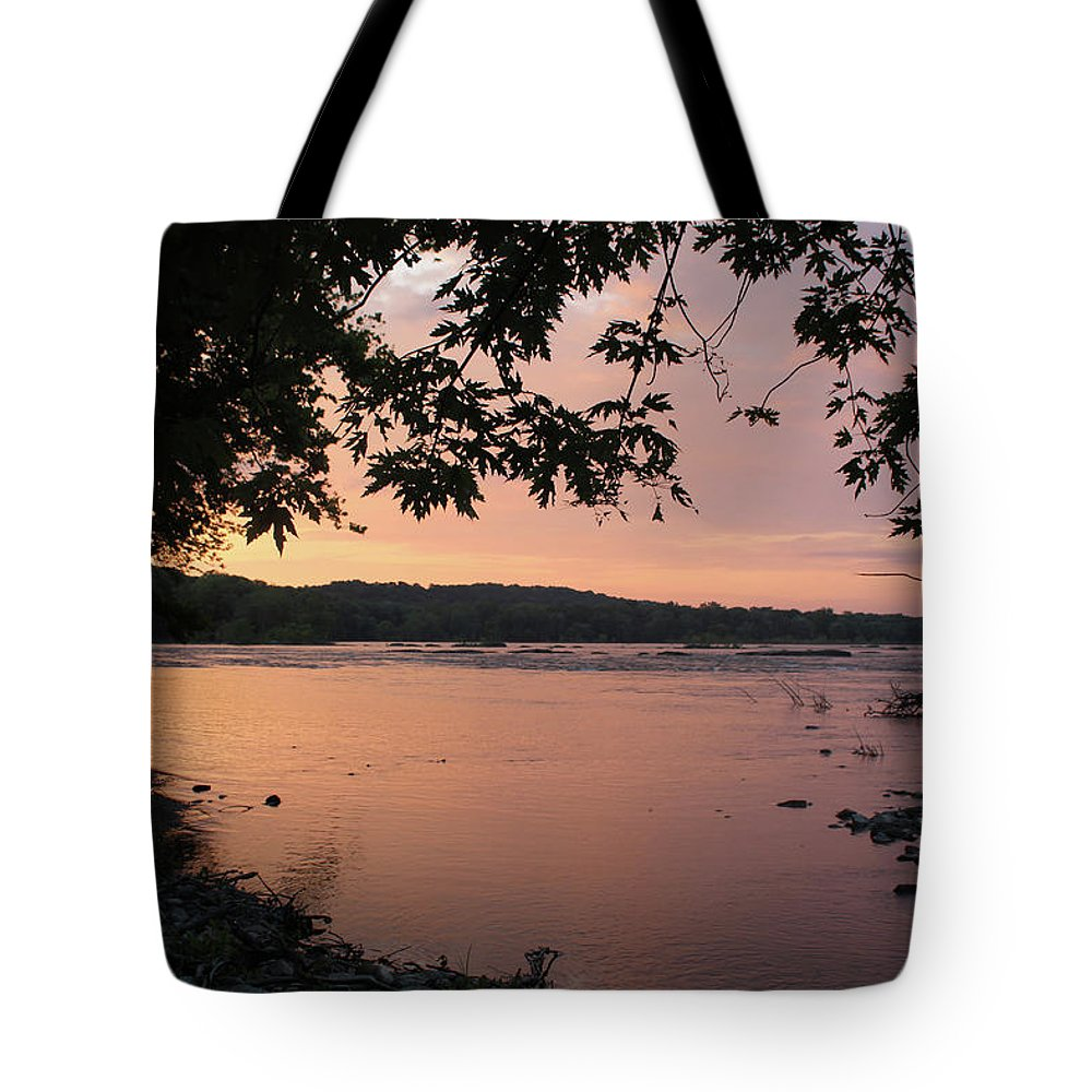 Sunrise Tote Bag featuring the photograph Purple Potomac Sonrise by Holly Morris