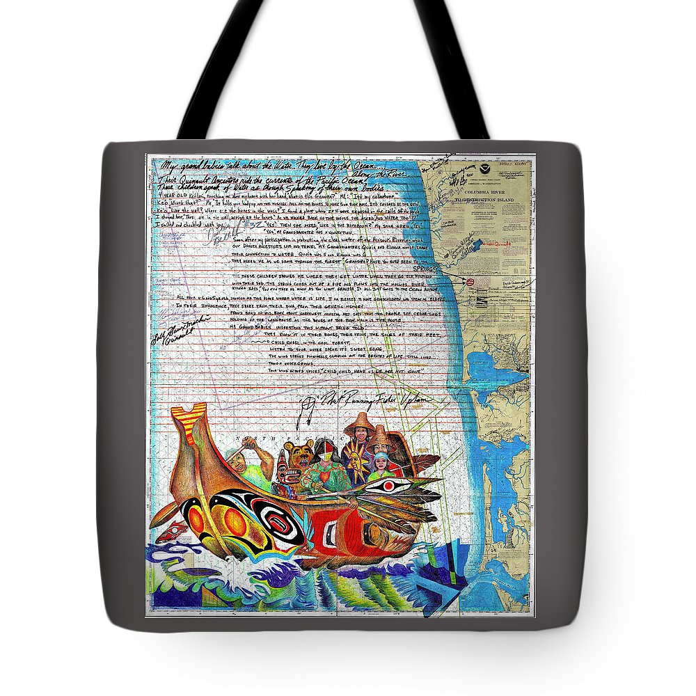 Quinault Canoe Tote Bag featuring the drawing Quinault Spirit by Robert Running Fisher Upham