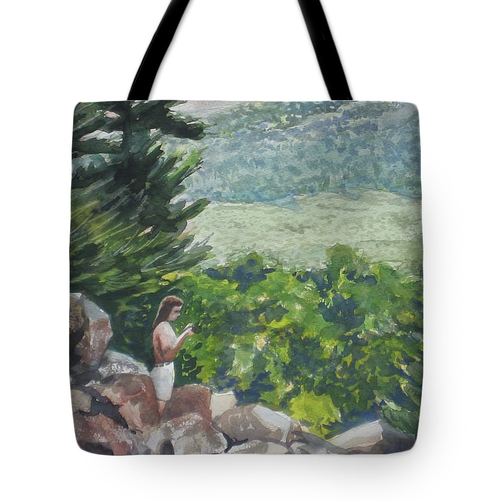 Tote Bag featuring the painting Rachel at the Devil's Doorway - Watercolor 14x10 by Doug Jerving