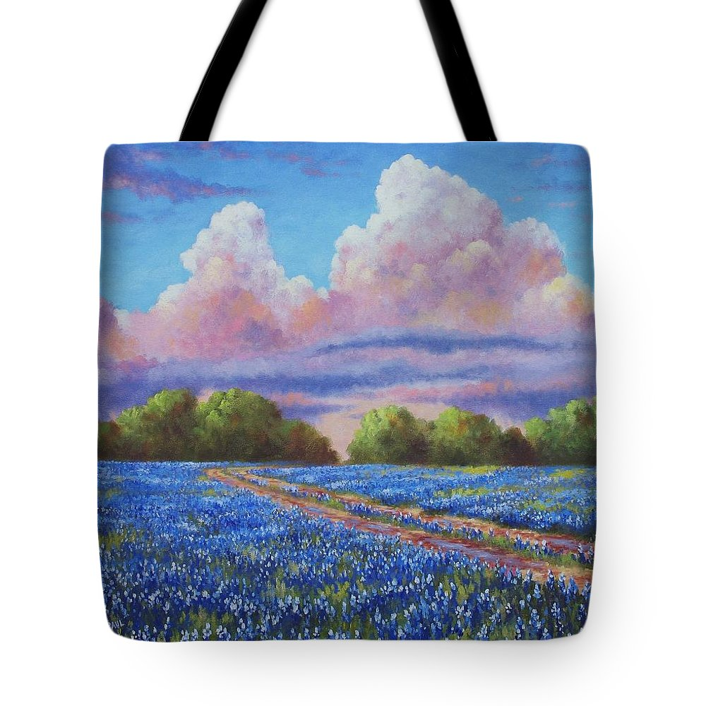Rain Tote Bag featuring the painting Rain For The Bluebonnets by David G Paul