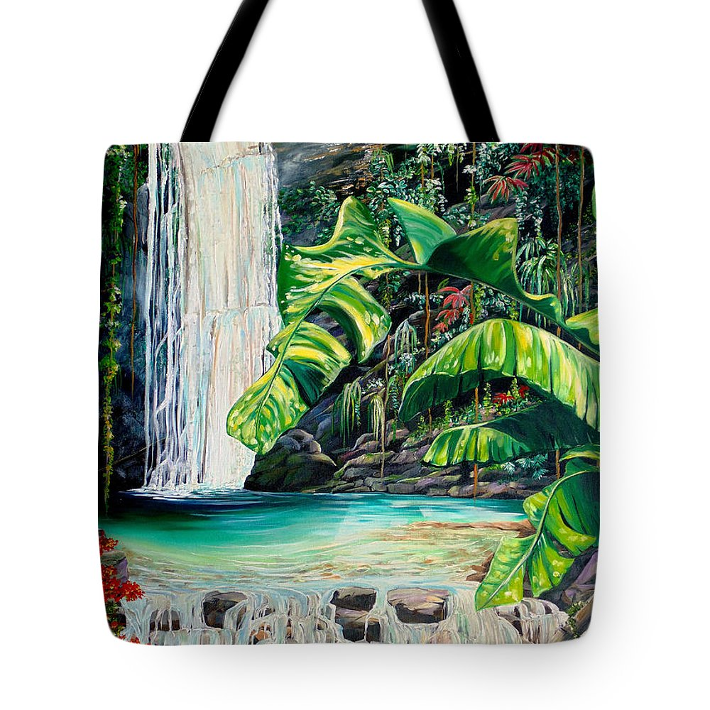 Water Fall Painting Landscape Painting Rain Forest Painting River Painting Caribbean Painting Original Oil Painting Paria Northern Mountains Of Trinidad Painting Tropical Painting Tote Bag featuring the painting Rainforest Falls Trinidad.. by Karin Dawn Kelshall- Best