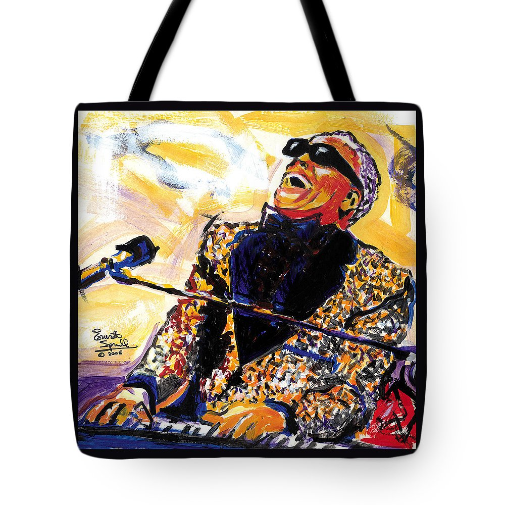 Everett Spruill Tote Bag featuring the painting Ray Charles by Everett Spruill