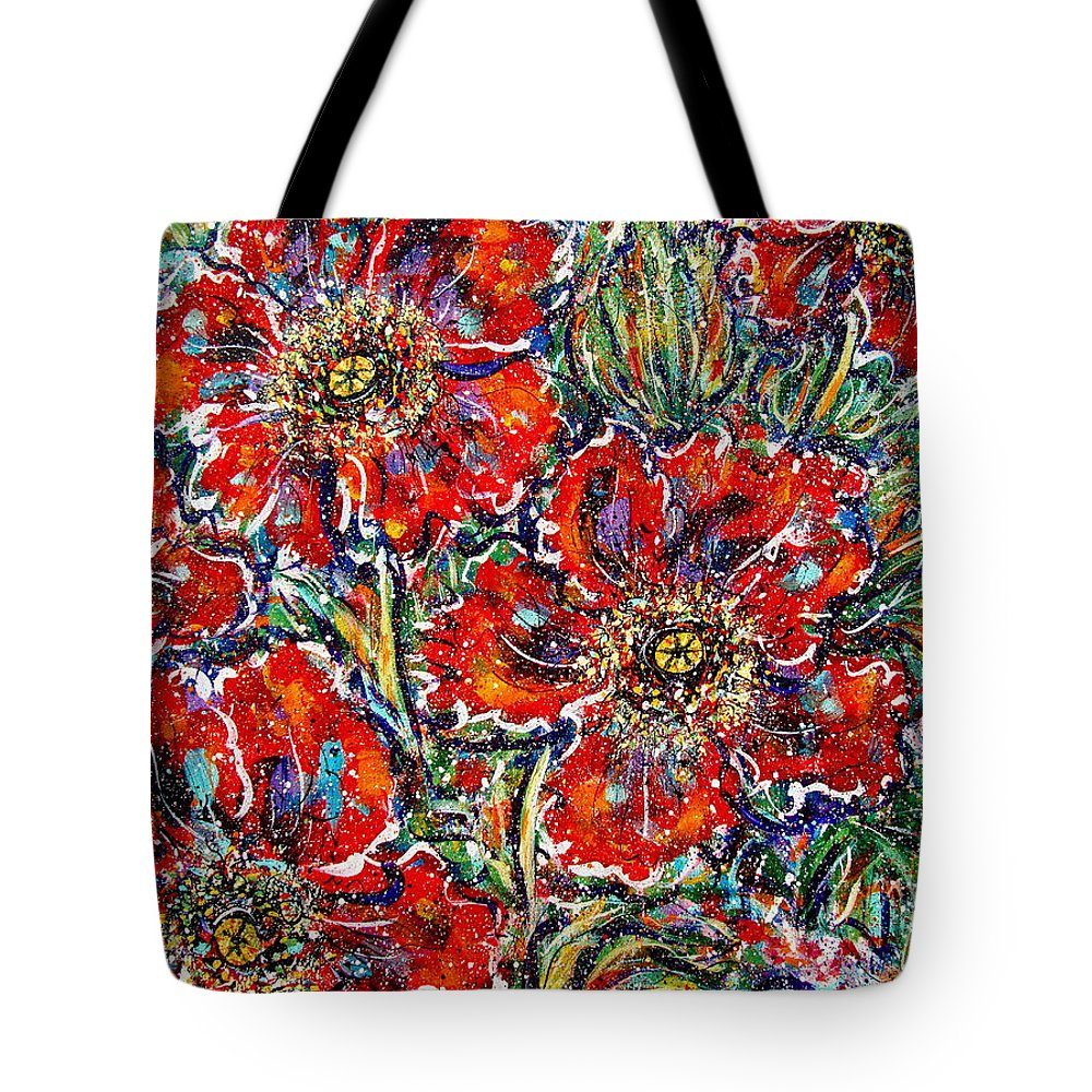 Flowers Tote Bag featuring the painting Red Fantasy Poppies by Natalie Holland