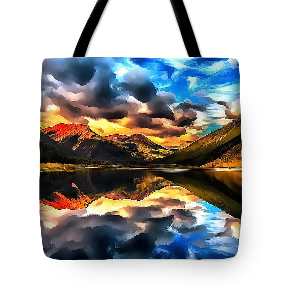 Colorado Landscape Painting Tote Bag featuring the digital art Red Mountain Drama by Fine Art Western Paintings