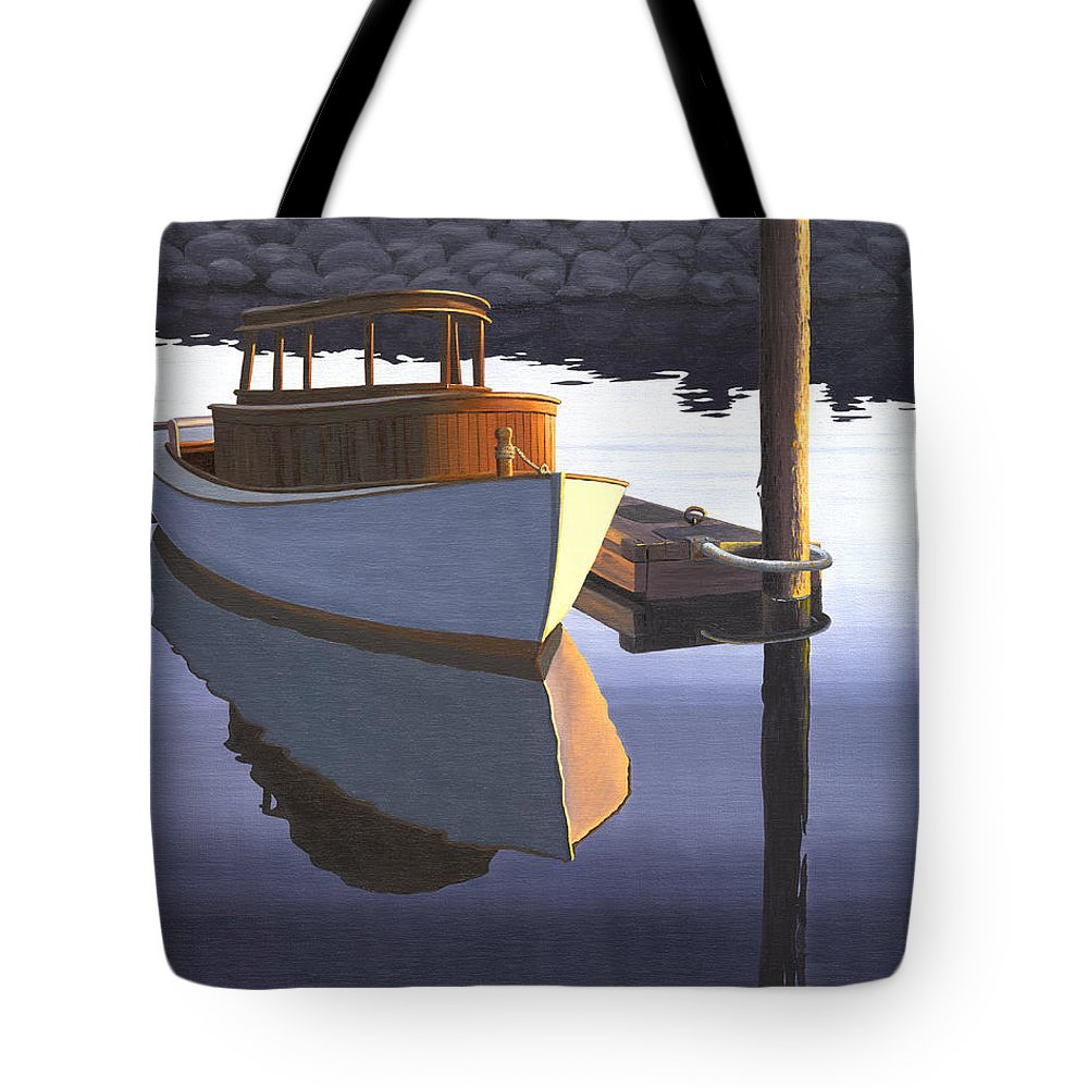Marine Tote Bag featuring the painting Retired fisherman by Gary Giacomelli