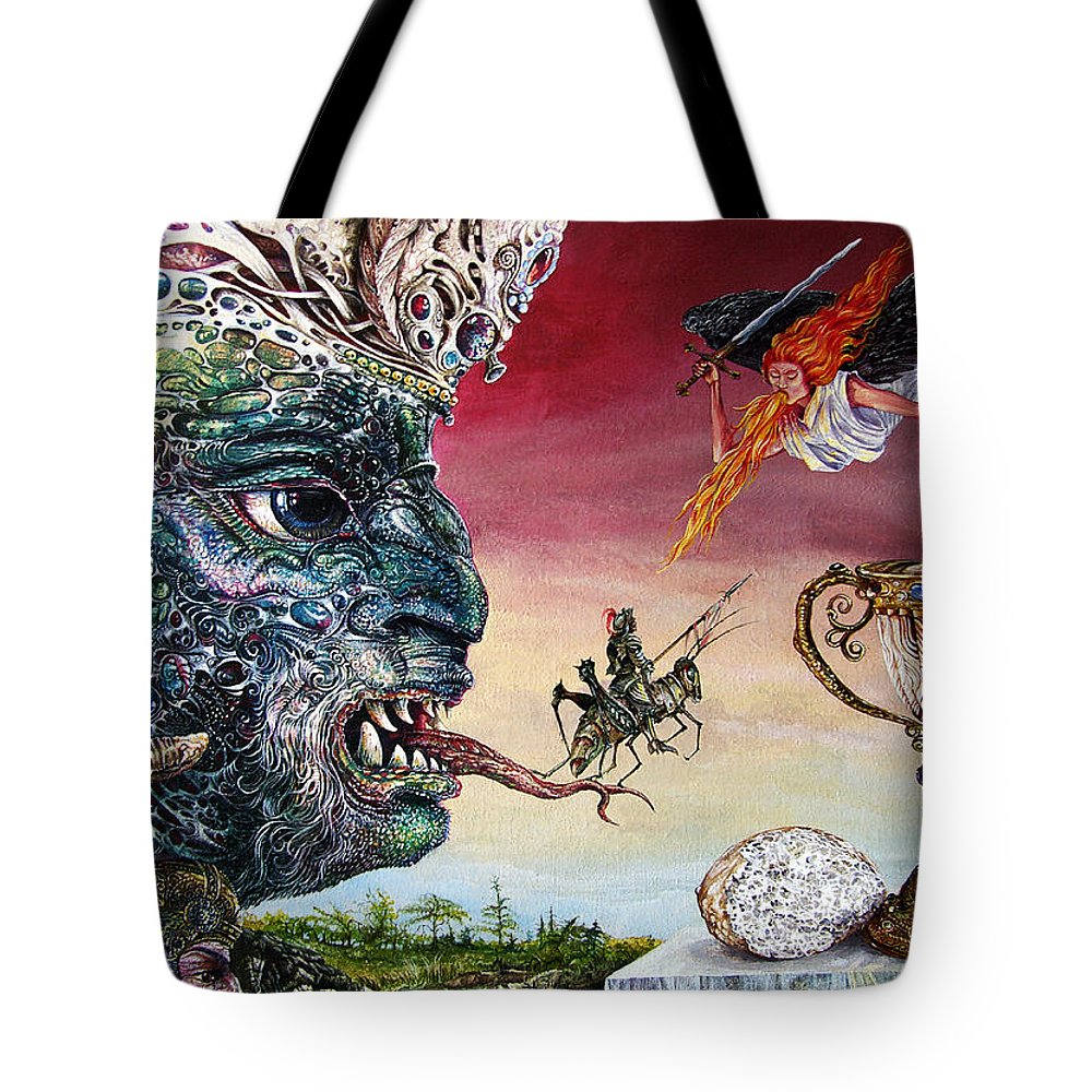 Surrealism Tote Bag featuring the painting Revelation 20 by Otto Rapp