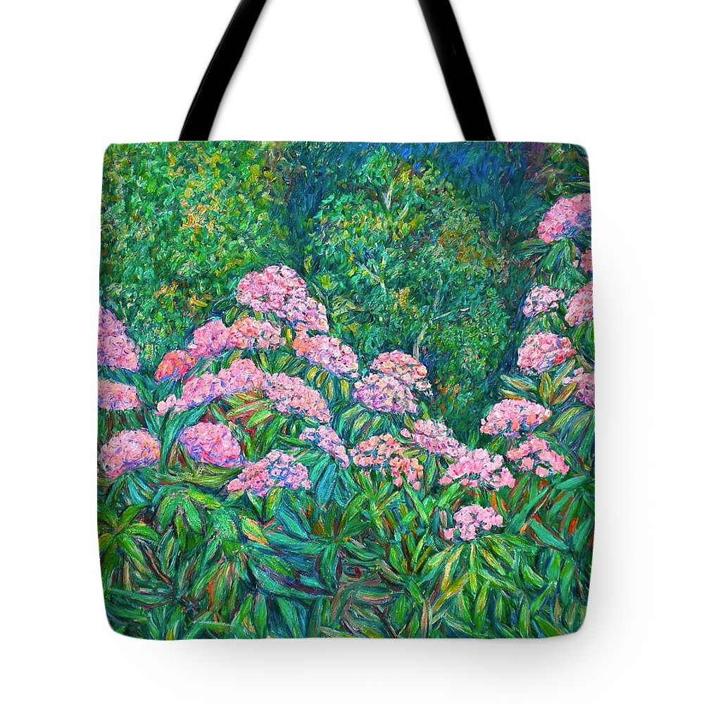 Floral Tote Bag featuring the painting Rhododendron Near Black Rock Hill by Kendall Kessler