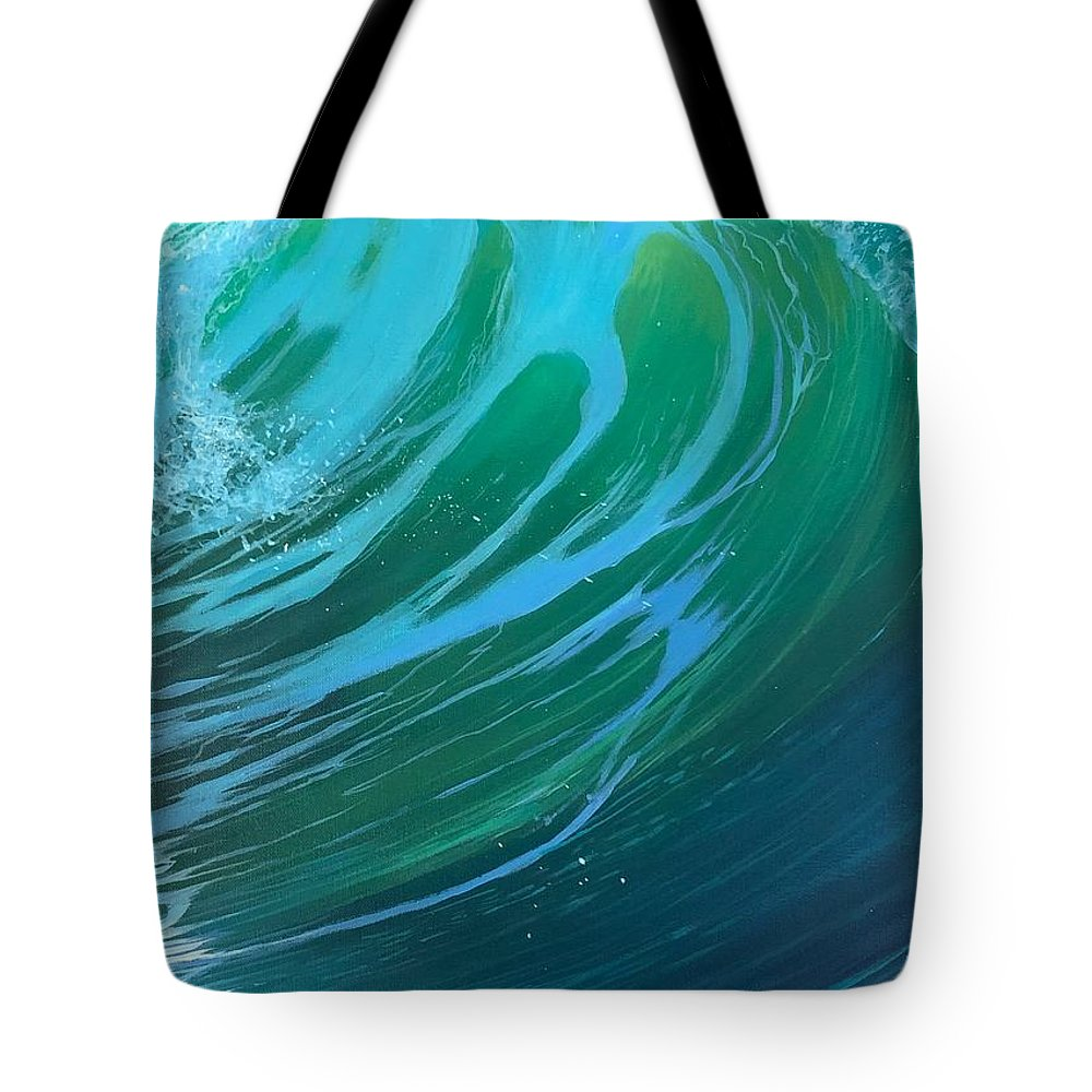 Wave Tote Bag featuring the painting Riptide by Hunter Jay