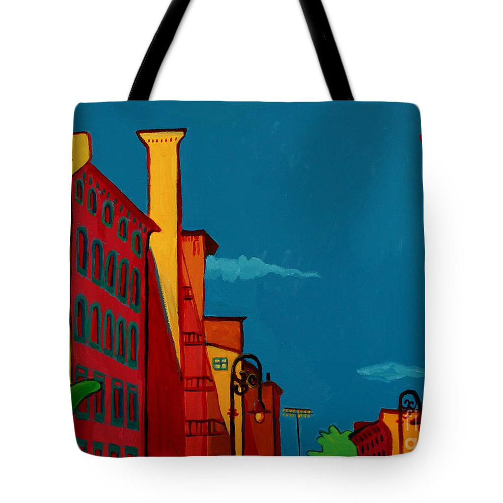 Landscape Tote Bag featuring the painting Riverwalk by Debra Bretton Robinson