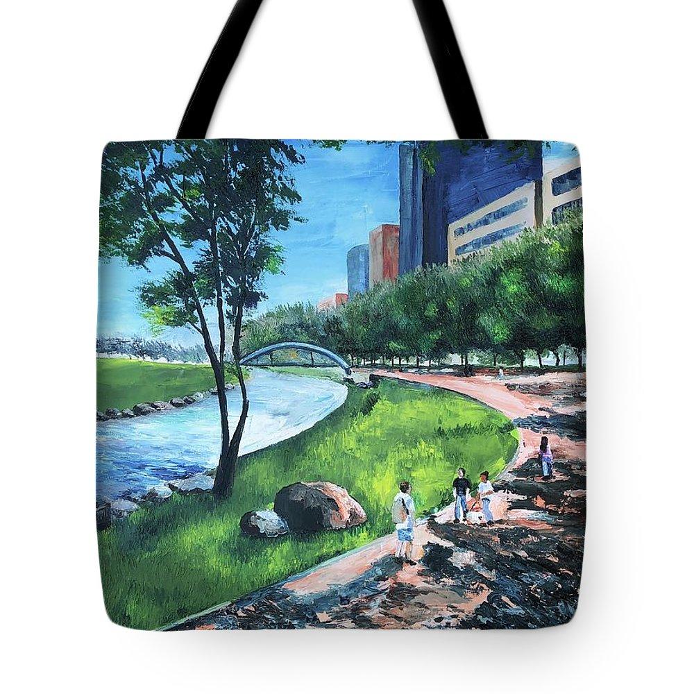 River Tote Bag featuring the painting Riverwalk by Lauren Luna
