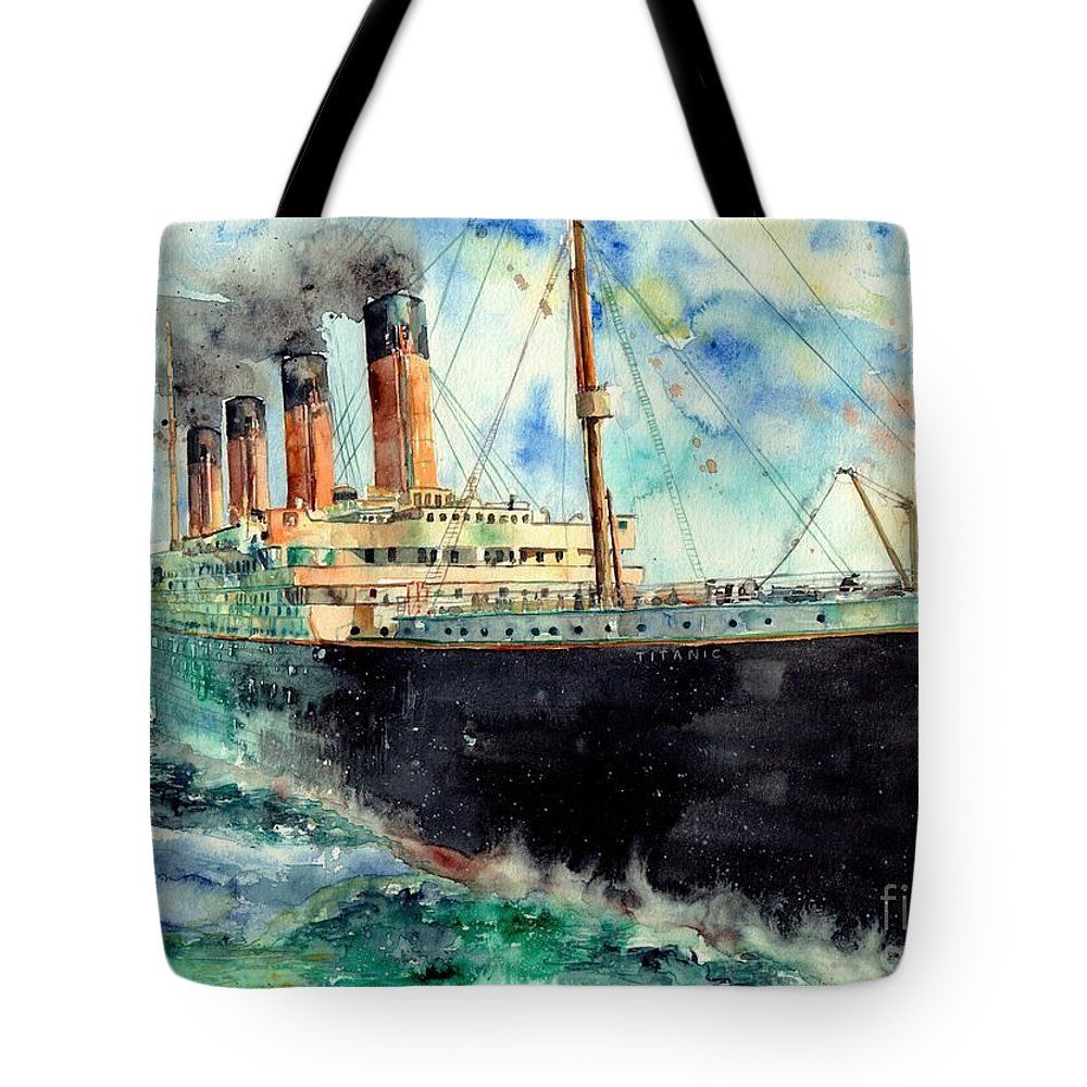 Rms Titanic Tote Bag featuring the painting RMS Titanic White Star Line Ship by Suzann Sines