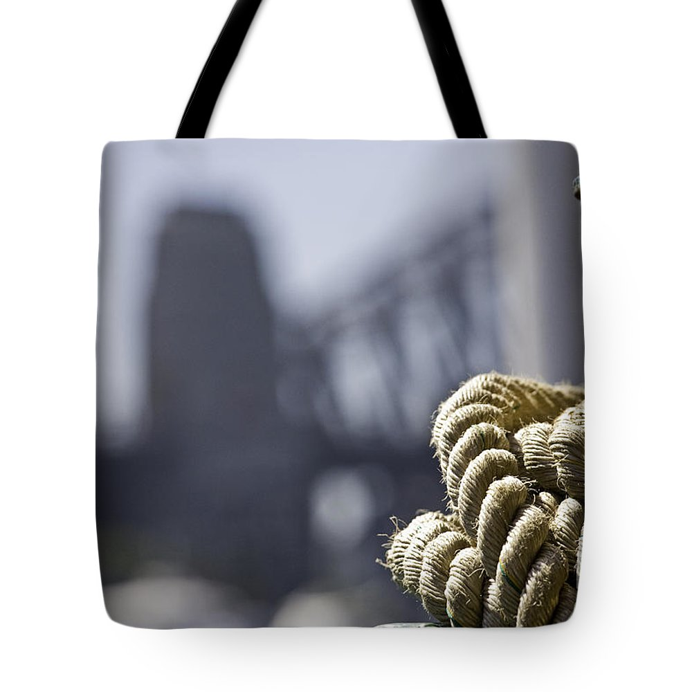 Sydney Harbour Tote Bag featuring the photograph Ropes with Harbour backdrop by Sheila Smart Fine Art Photography