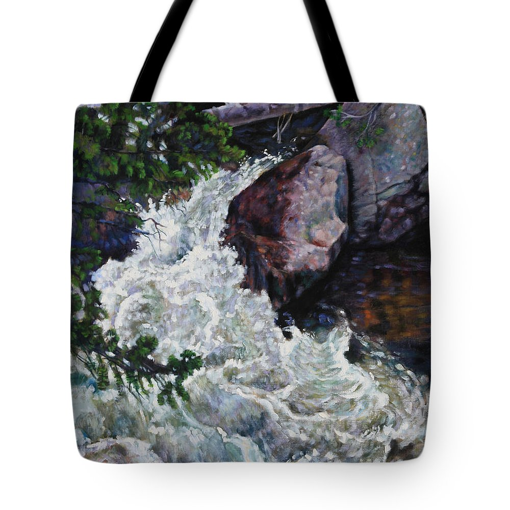 Waterfall Tote Bag featuring the painting Rushing Stream Colorado by John Lautermilch