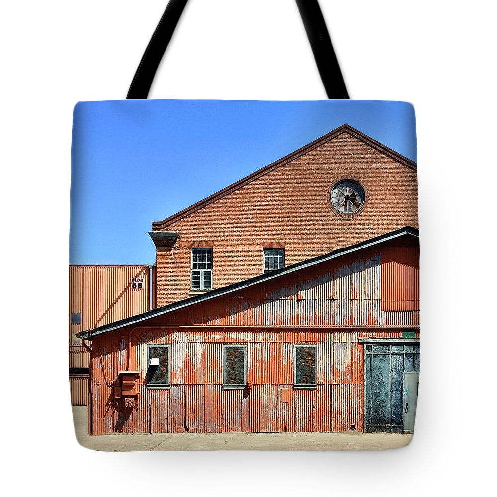 Tote Bag featuring the photograph Rust and Brick by Julie Gebhardt