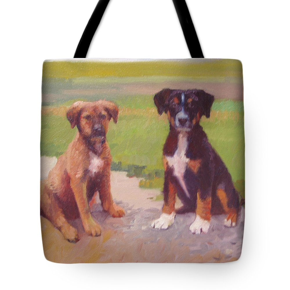 Pet Portrait Tote Bag featuring the painting Rusty and Bandit by Dianne Panarelli Miller