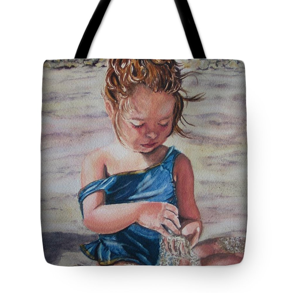 Beach Tote Bag featuring the painting Sand by Karen Ilari