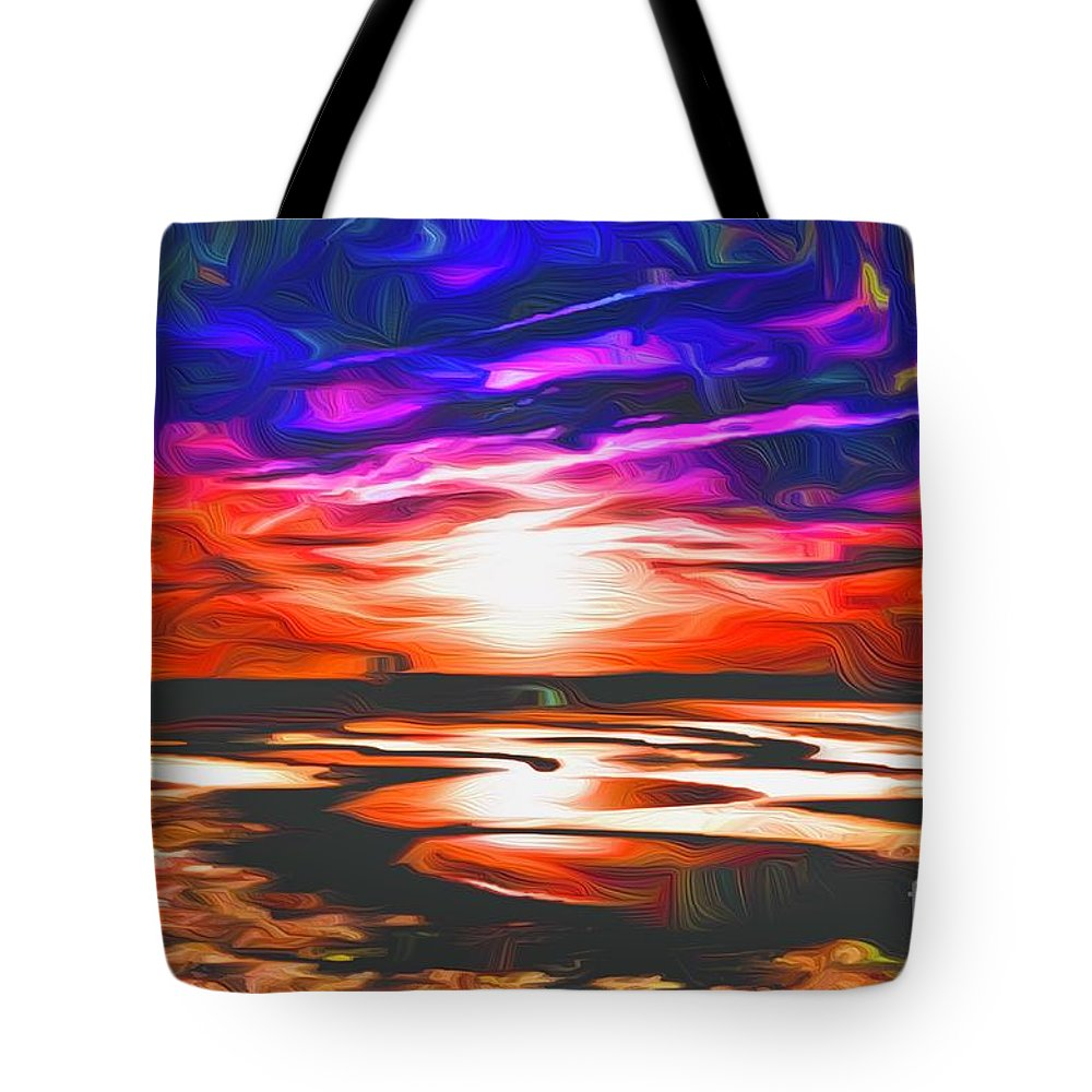 Landscape Tote Bag featuring the digital art Sands Beach by Michael Stothard