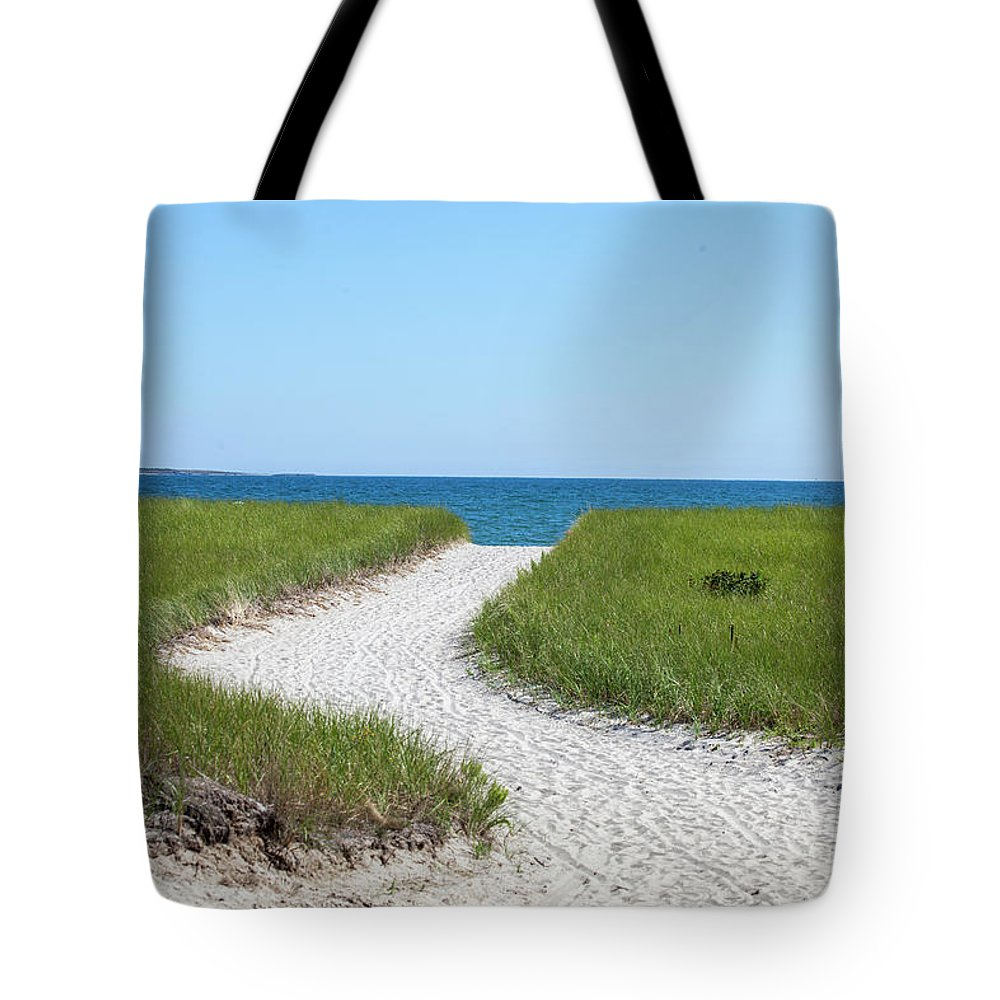 Path Tote Bag featuring the photograph Sandy Path To The Ocean by Trevor Slauenwhite