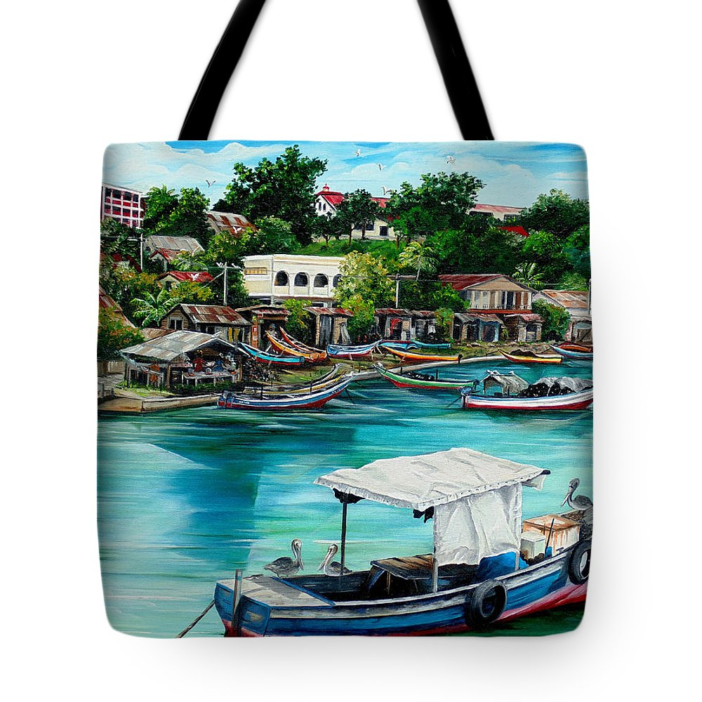 Ocean Painting Sea Scape Painting Fishing Boat Painting Fishing Village Painting Sanfernando Trinidad Painting Boats Painting Caribbean Painting Original Oil Painting Of The Main Southern Town In Trinidad  Artist Pob Tote Bag featuring the painting Sanfernando Wharf by Karin Dawn Kelshall- Best