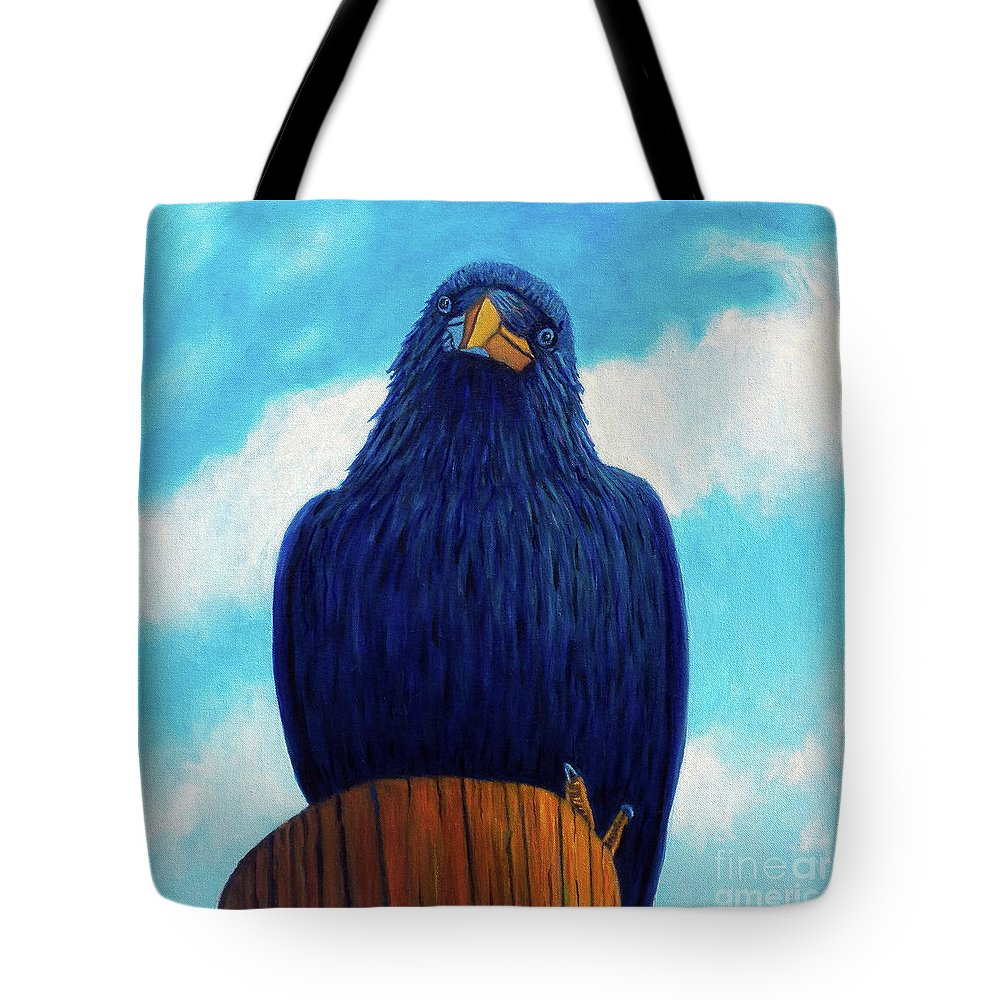 Raven Tote Bag featuring the painting Santa Fe Smile by Brian Commerford