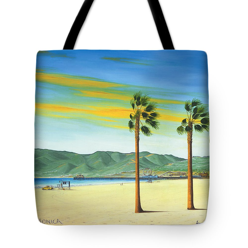 Santa Monica Tote Bag featuring the painting Santa Monica by Jerome Stumphauzer