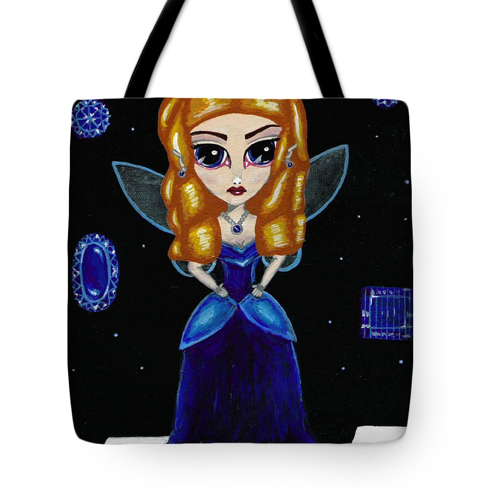 Fairy Tote Bag featuring the painting Sapphire Fairy by Bronwen Skye