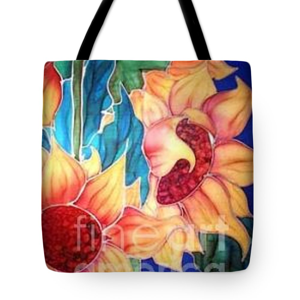 Silks Tote Bag featuring the painting Sassy Sunflowers by Francine Dufour Jones
