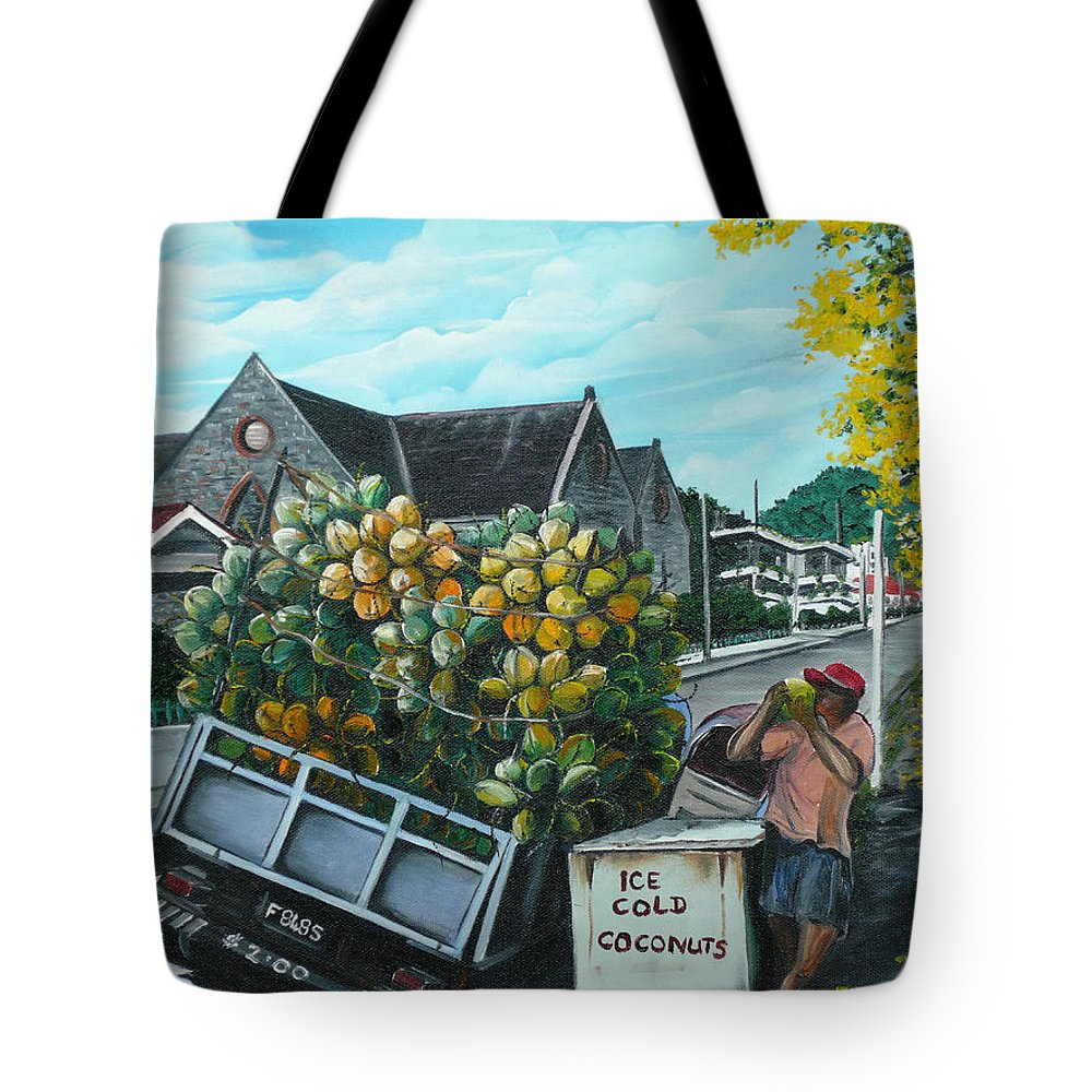 Caribbean Painting Coconuts Vendor Trinidad And Tobago Painting Savannah Paintings  Poui Tree Painting Tropical Painting Tote Bag featuring the painting Savannah Coconut Vendor by Karin Dawn Kelshall- Best
