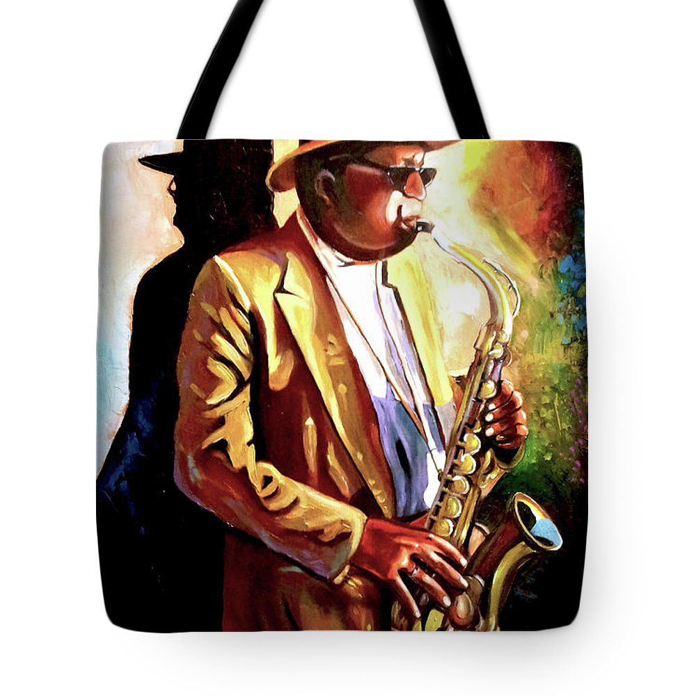 Sax Tote Bag featuring the painting Sax Player by Jose Manuel Abraham