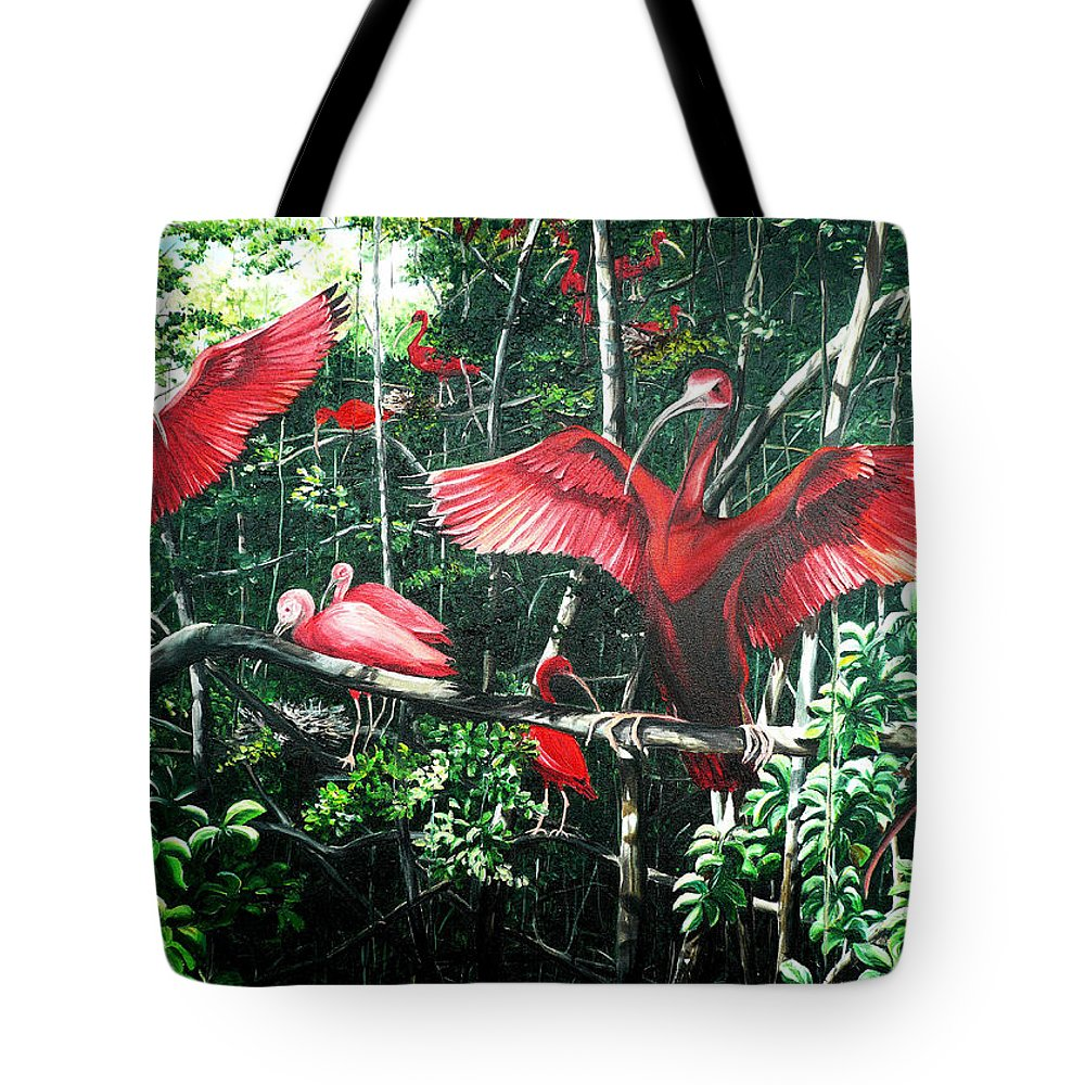Caribbean Painting Scarlet Ibis Painting Bird Painting Coming Home To Roost Painting The Caroni Swamp In Trinidad And Tobago Greeting Card Painting Painting Tropical Painting Tote Bag featuring the painting Scarlet Ibis by Karin Dawn Kelshall- Best