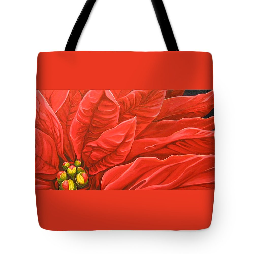 Floral Tote Bag featuring the painting Scarlet Nights by Hunter Jay