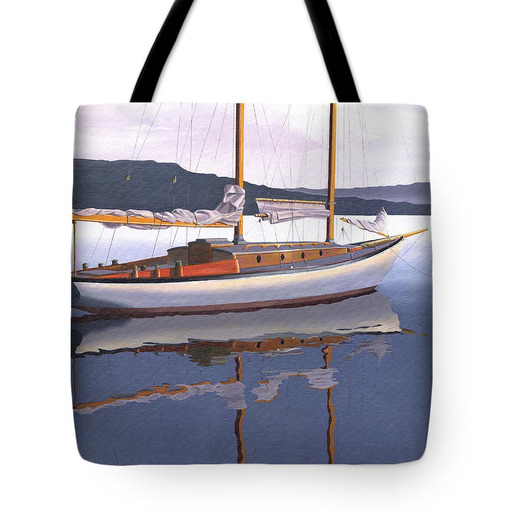 Schooner Tote Bag featuring the painting Schooner at dusk by Gary Giacomelli