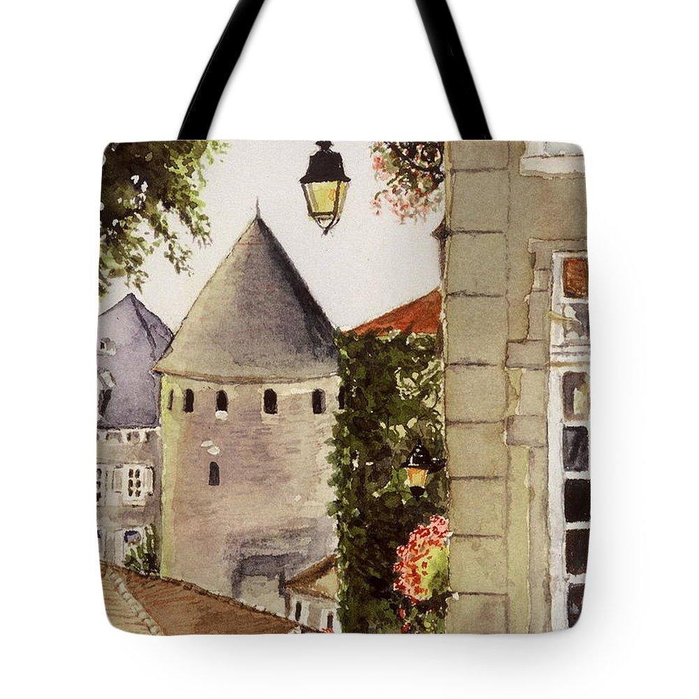 France Tote Bag featuring the painting Semur en Auxois by Mary Ellen Mueller Legault